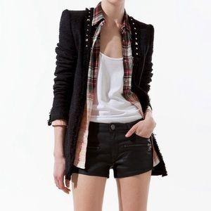 NWT Zara Woman Studded Black Tweed Blazer L